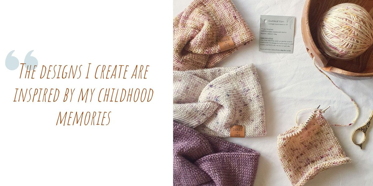 A flatlay of finished earwarmers, and a work in progress in muted tones; 'The designs I create are inspired by my childhood memories'