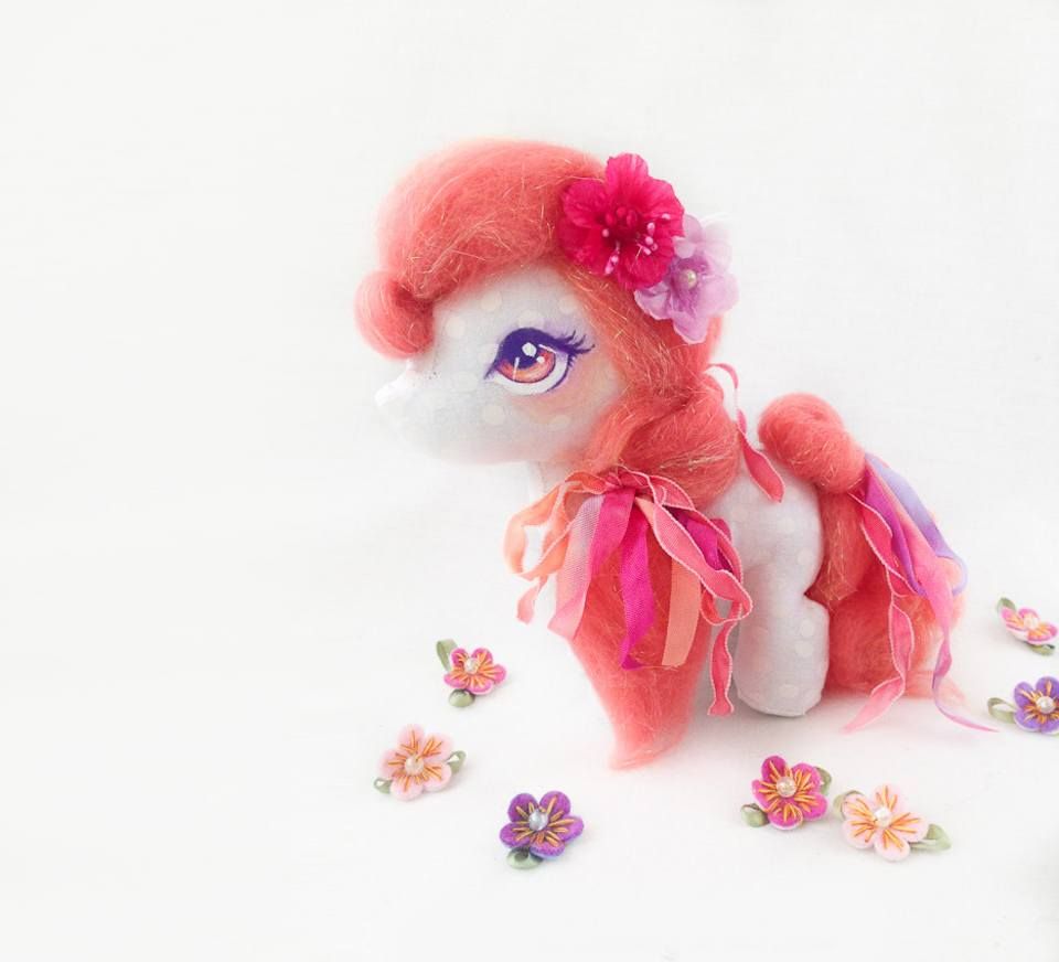 Handcrafted pony art doll with pink mane and tail, by Wishsong Design