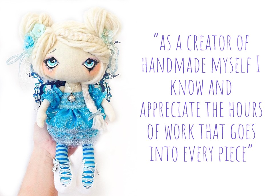 Blue fairy fantasy handcrafted art doll with big eyes: 'As a creator of handmade myself, I know and appreciate the hours of work that goes into every piece'