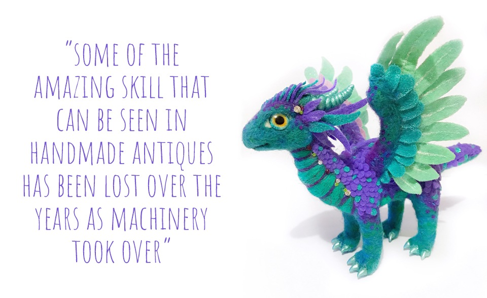 Intricately details handmade dragon art doll in purple and teal: 'Some of the amazing skill that can be seen in handmade antiques has been lost over the years as machinery took over'