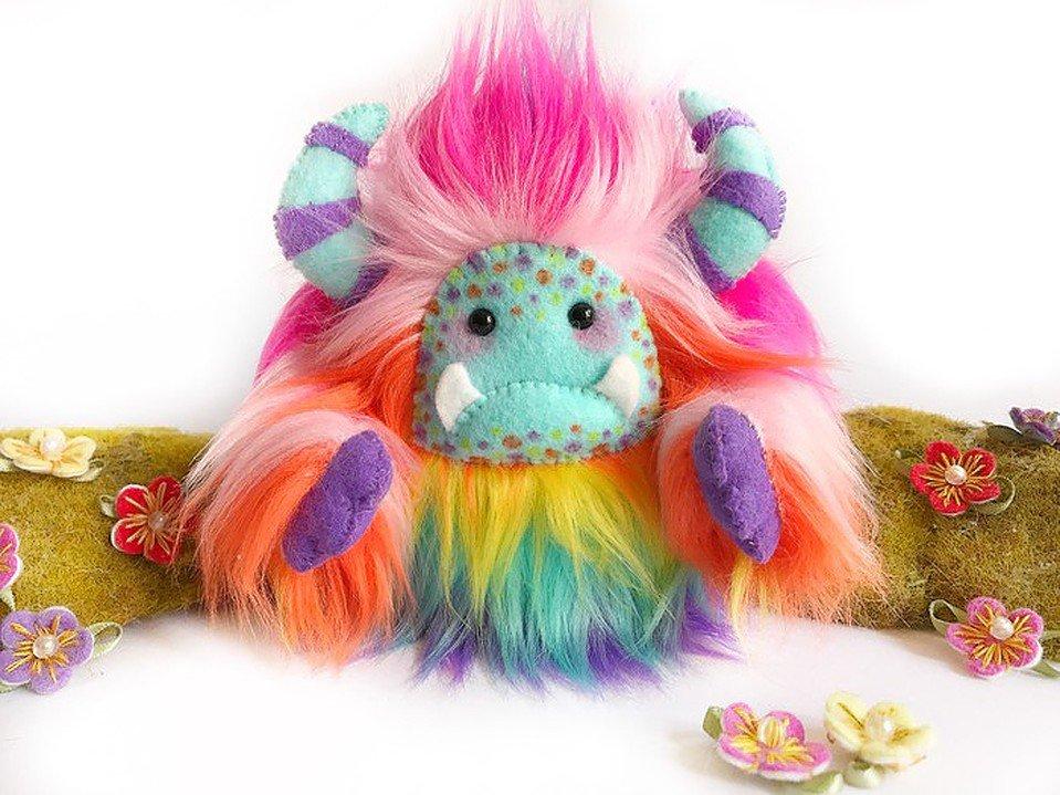 Cute rainbow yeti art doll handmade in Australia by Wishsong Design