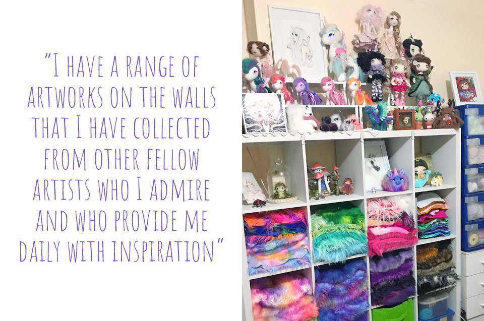 Some of Jodie's craft supplies, art dolls, and illustrations in her Western Australian home studio: 'I have a range of artworks on the walls that I have collected from other fellow artists who I admire and who provide me with daily inspiration'