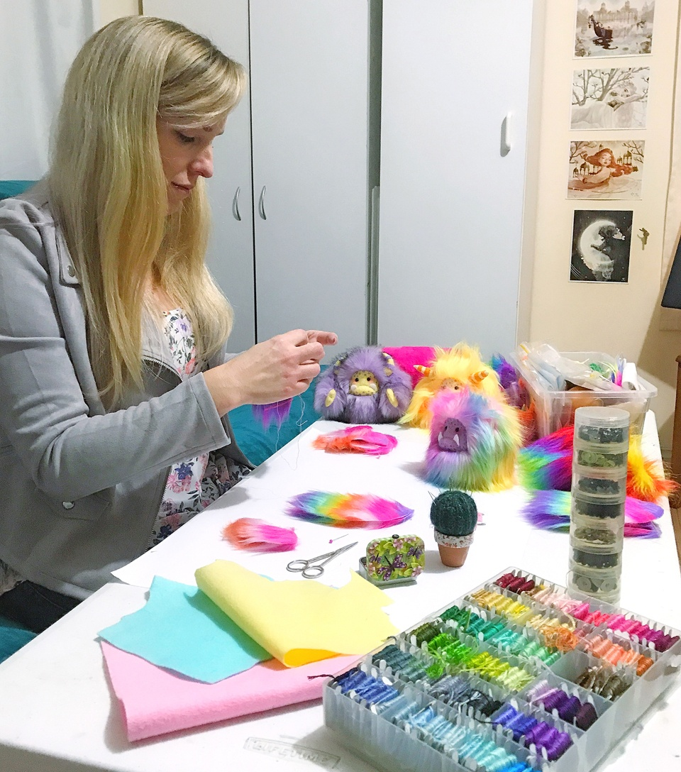 Jodie from Wishsong Design at work in her home studio, creating her popular 'yeti' art dolls