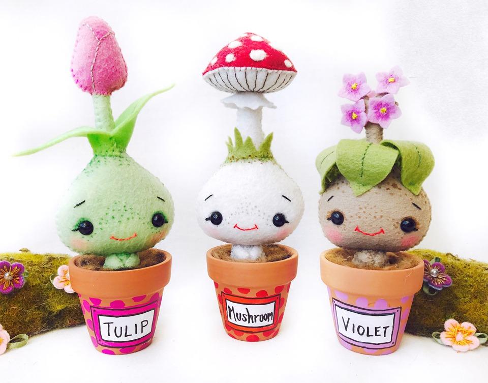Tulip, Mushroom, and Violet; three plant-inspired handmade felt art dolls in tiny terracotta pots by Wishsong Design