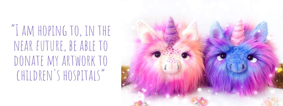 Fluffy handmade unicorn art dolls in pinks and purples: 'I am hoping to, in the near future, be able to donate my artwork to children's hospitals'