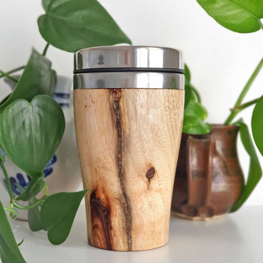 Camphor laurel timber reusable coffee mug hand-turned by Woodwork in Ric's Shed