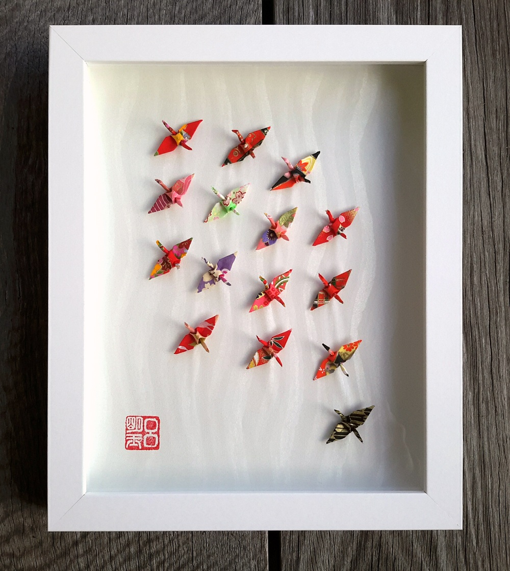 Box-framed Wish Upon A Wing 3d folded paper crane origami artwork in red
