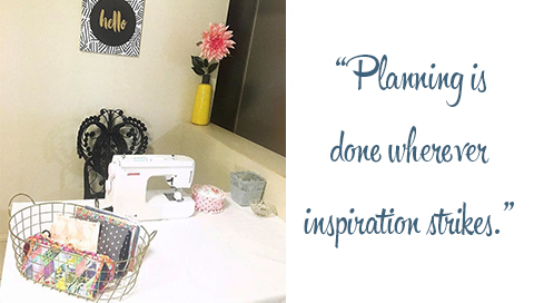 Steph's dining room sewing nook. Quote: Planning is done wherever inspiration strikes.
