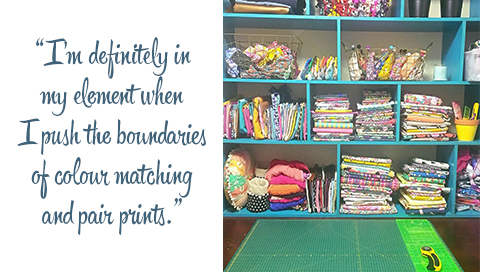 Steph's colourful and organized fabric collection. Quote: I'm definitely in my element when I push the boundaries of colour-matching and pairing prints.