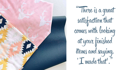 "A selection of modern fabric prints. Quote: There is a great satisfaction that comes with looking at your finished items and saying, ""I made that."""