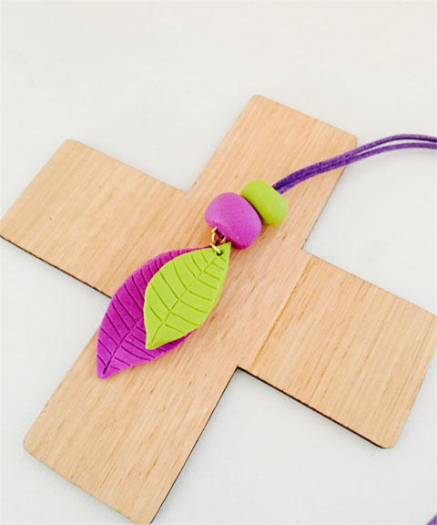 Lavender and lime leaf polymer clay pendant.