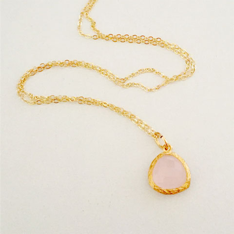 Soft pink glass pendant with gold-fill chain