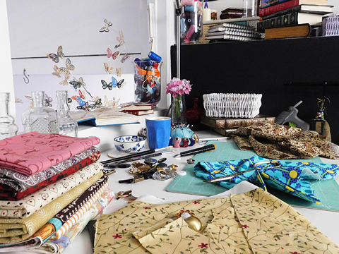 Leanne's Workspace for upcycling books into handbags