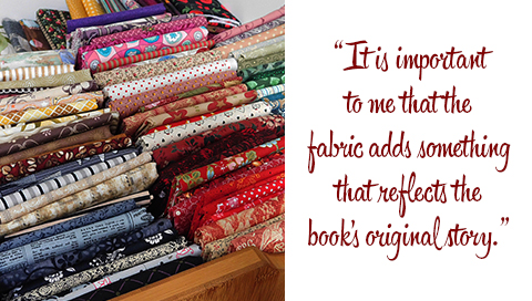 Fabrics used for old book handbags: 'It is important to me that the fabric adds something that reflects the book's original story.'
